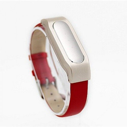 Ремешок для браслета XIAOMI Mi Band Leather strap Metal holder (Red)