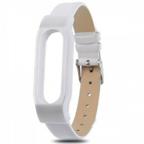 Ремешок для браслета XIAOMI Mi Band Leather strap Metal holder (White)